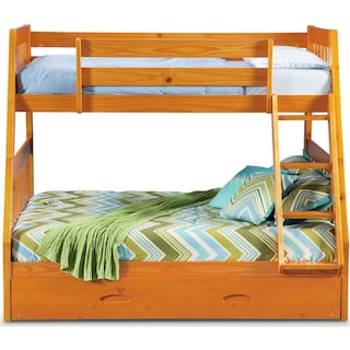 Ranger Twin over Full Bunk Bed with Twin Trundle  - Pine