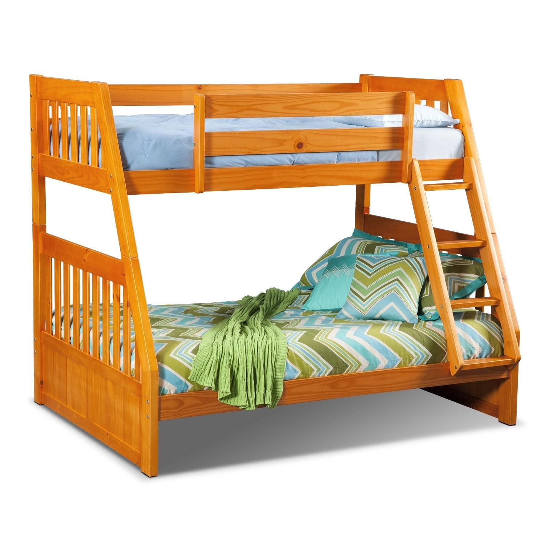 Kids Furniture - Ranger Twin over Full Bunk Bed - Pine