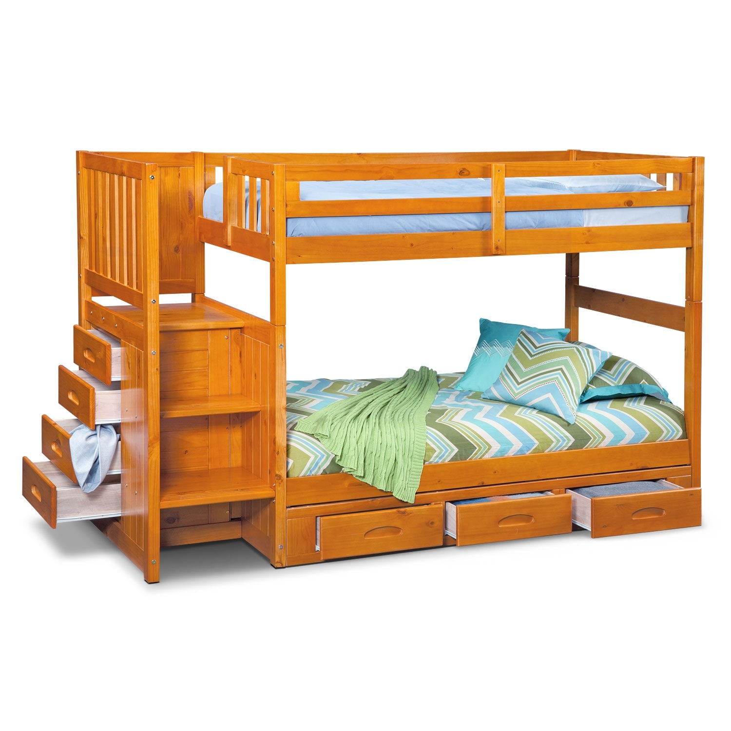 [Ranger Pine Twin/Twin Bunk Bed w/ Stairs and 7-Drawer Storage]