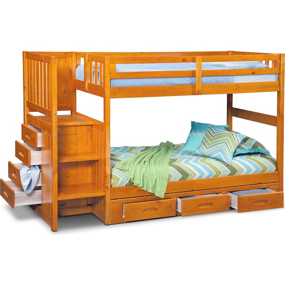 699 99 Ranger Twin Over Bunk Bed With Storage Stairs Underbed Drawers