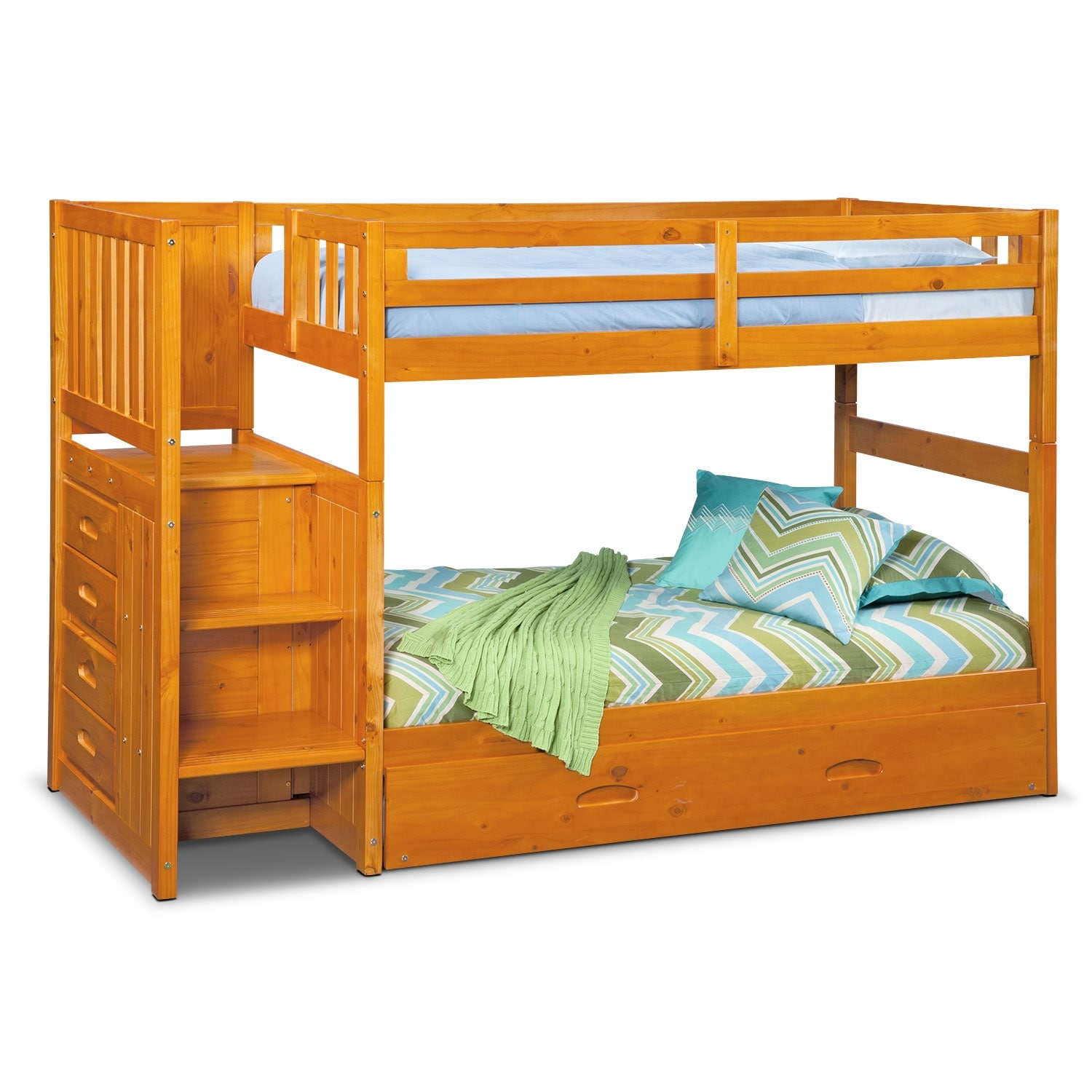 Kids Furniture - Ranger Twin over Twin Bunk Bed with Storage Stairs & Trundle - Pine