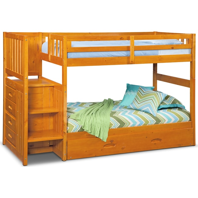 Ranger Twin over Twin Bunk Bed with Storage Stairs and Twin