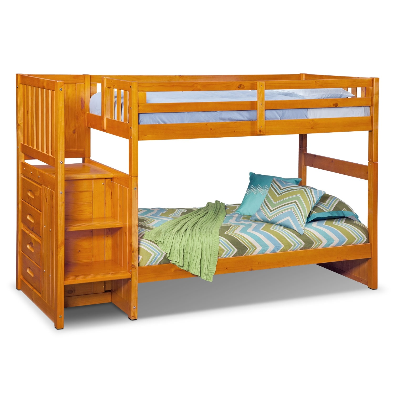 ranger twin over twin bunk bed with storage stairs pine value city furniture and mattresses. Black Bedroom Furniture Sets. Home Design Ideas