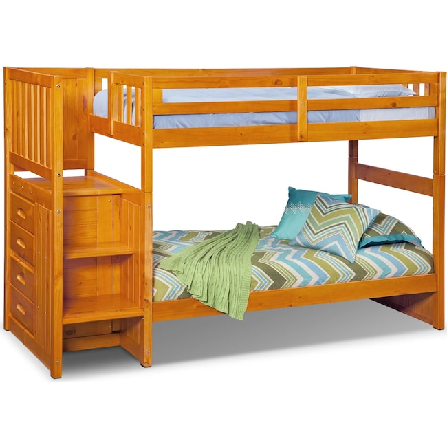 Kids Furniture - Ranger Twin over Twin Bunk Bed with Storage Stairs - Pine