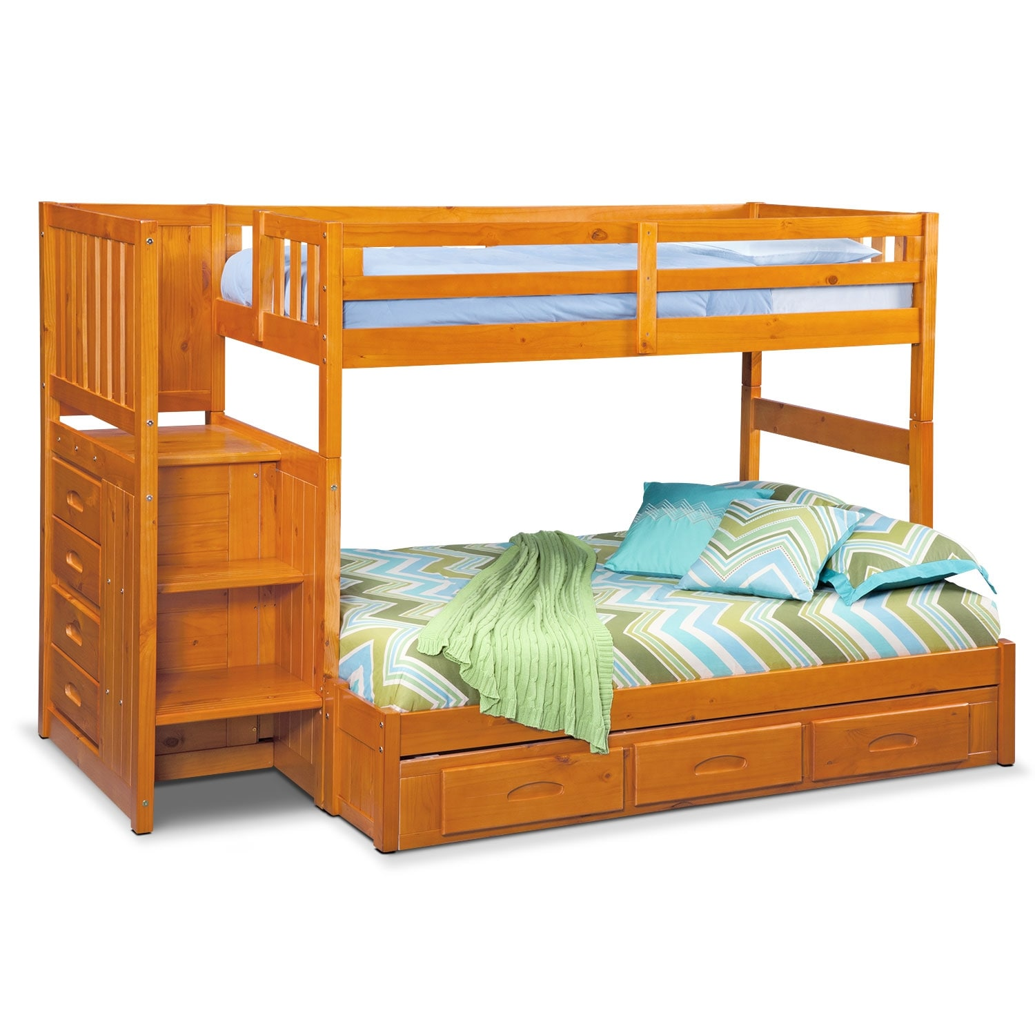 Kids Furniture - Ranger Pine Twin/Full Bunk Bed w/ Stairs and 7-Drawer Storage