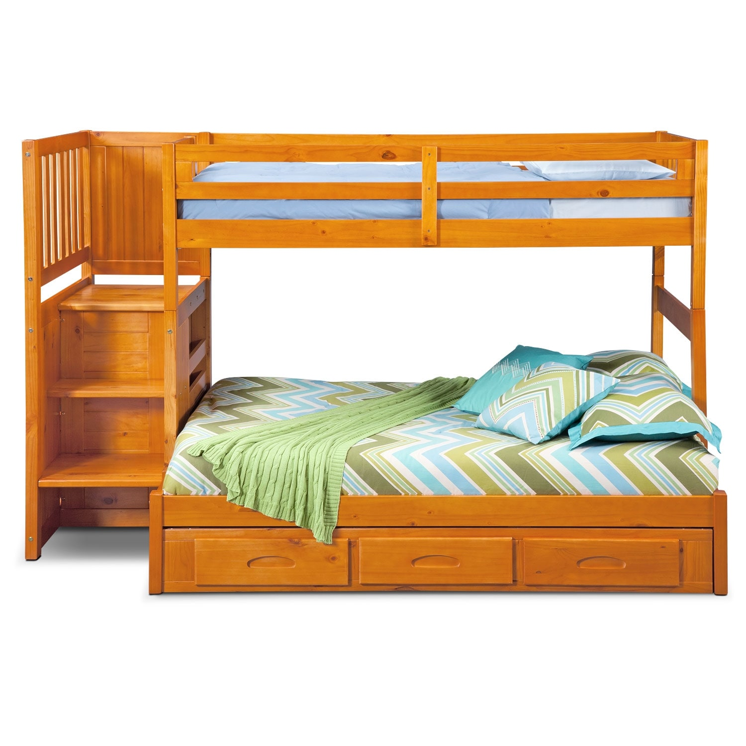ranger twin over full bunk bed with storage stairs underbed drawers pine value city. Black Bedroom Furniture Sets. Home Design Ideas