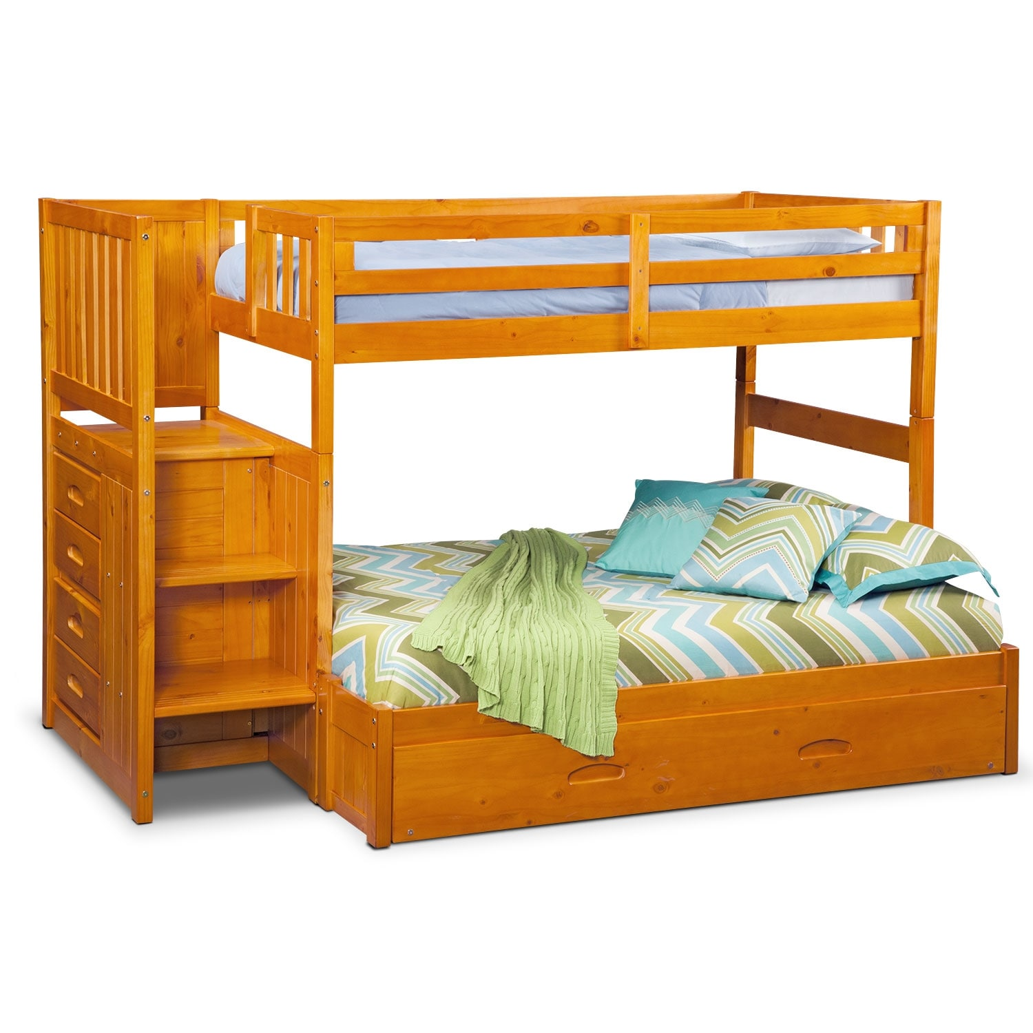 Kids Furniture - Ranger Twin over Full Bunk Bed with Storage Stairs & Trundle - Pine