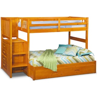 Ranger Twin over Full Bunk Bed with Storage Stairs & Trundle - Pine