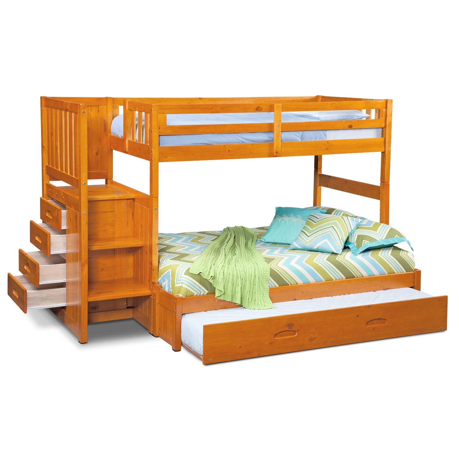 Twin over full bunk bed with stairs and trundle -  Twin Over Full Bunk Bed With Storage Stairs Trundle Pine Hover To Zoom Hover Touch To Zoom Click To Change Image