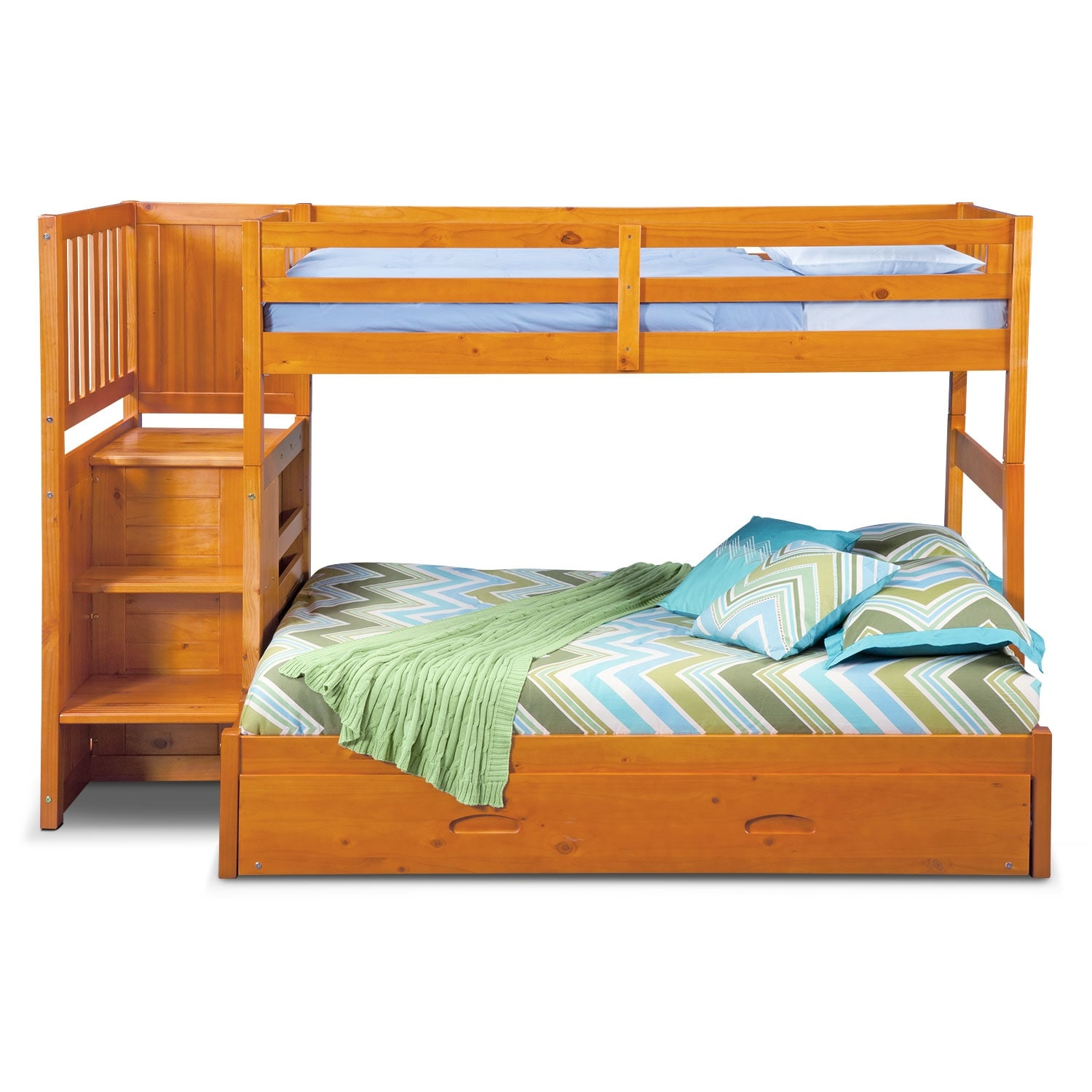 ranger twin over full bunk bed with storage stairs trundle pine value city furniture. Black Bedroom Furniture Sets. Home Design Ideas