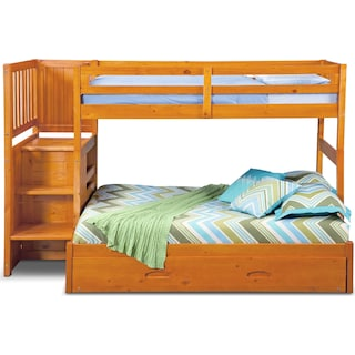 Ranger Twin over Full Bunk Bed with Storage Stairs and Twin Trundle - Pine