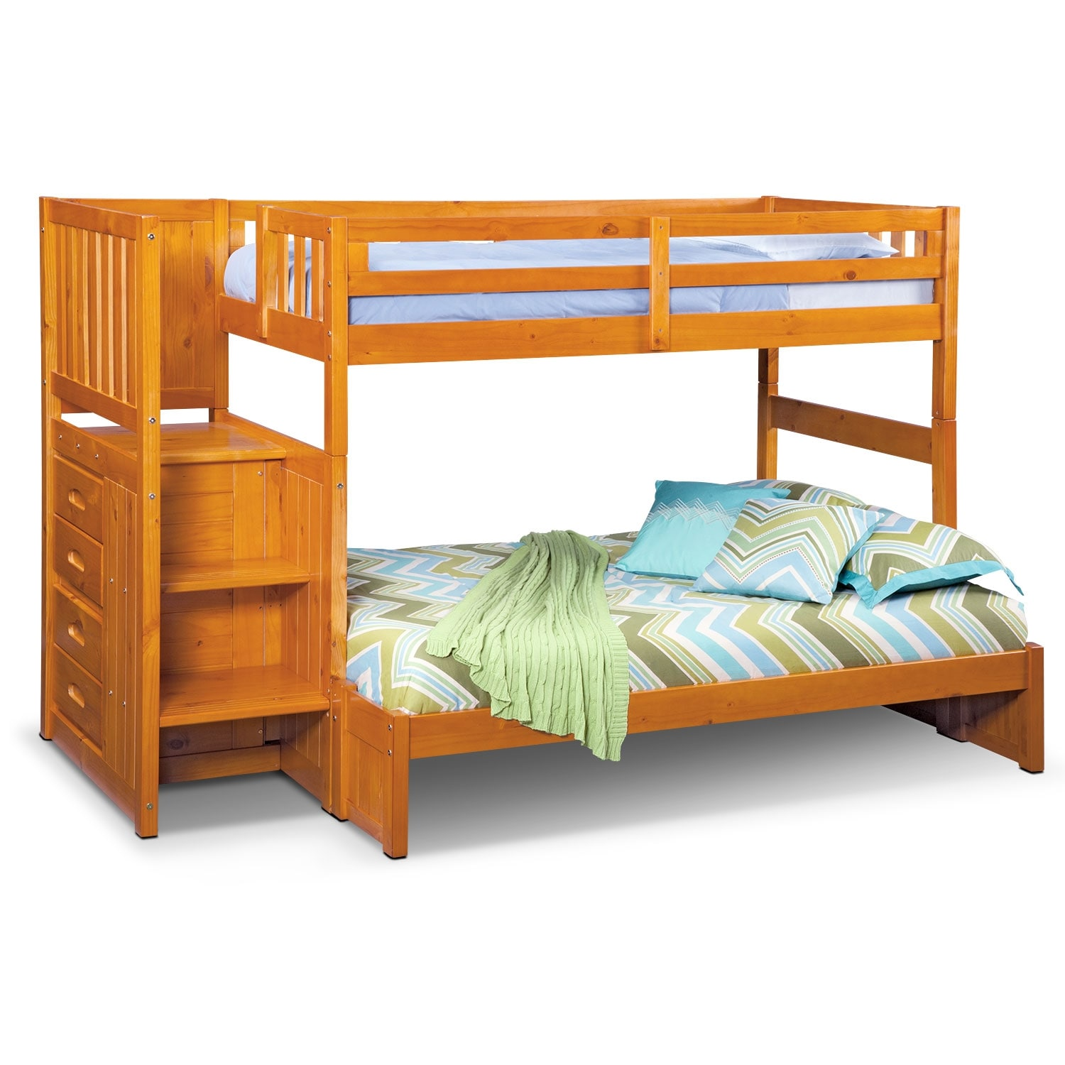 Ranger Pine Twin/Full Bunk Bed w/ Stairs and 4-Drawer Storage