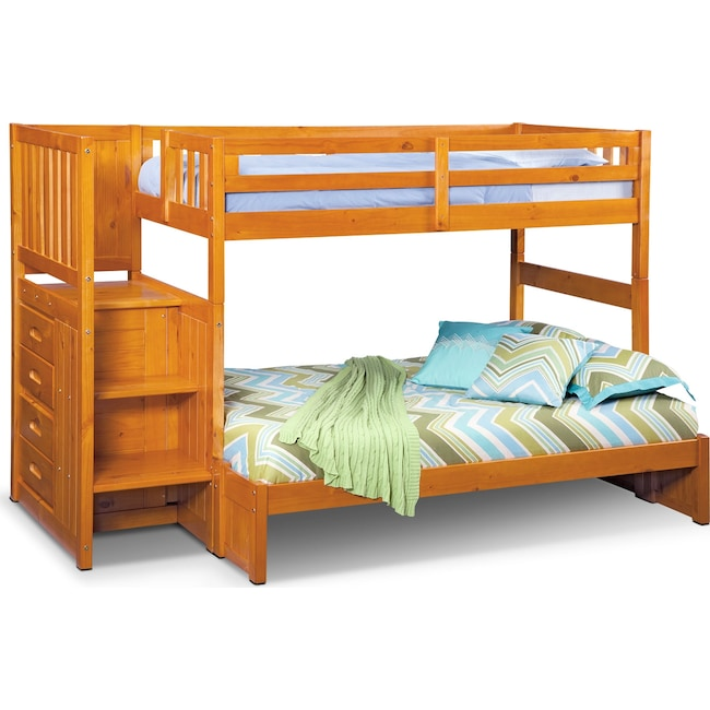 Ranger Twin Over Full Bunk Bed With Storage Stairs Pine Value