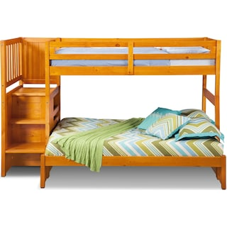 Ranger Twin over Full Bunk Bed with Storage Stairs - Pine
