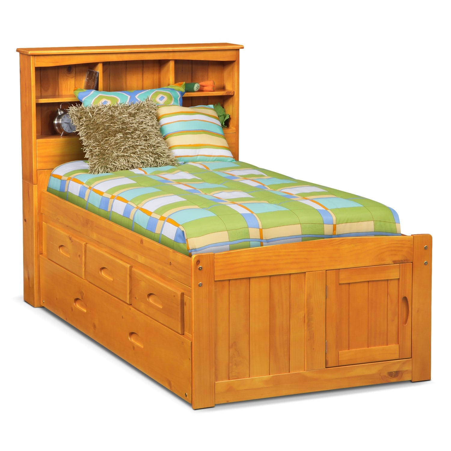 Ranger full bookcase bed with 3 underbed drawers and - Bedroom sets with drawers under bed ...