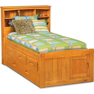 Ranger Twin Bookcase Bed with 3 Underbed Drawers and Trundle - Pine