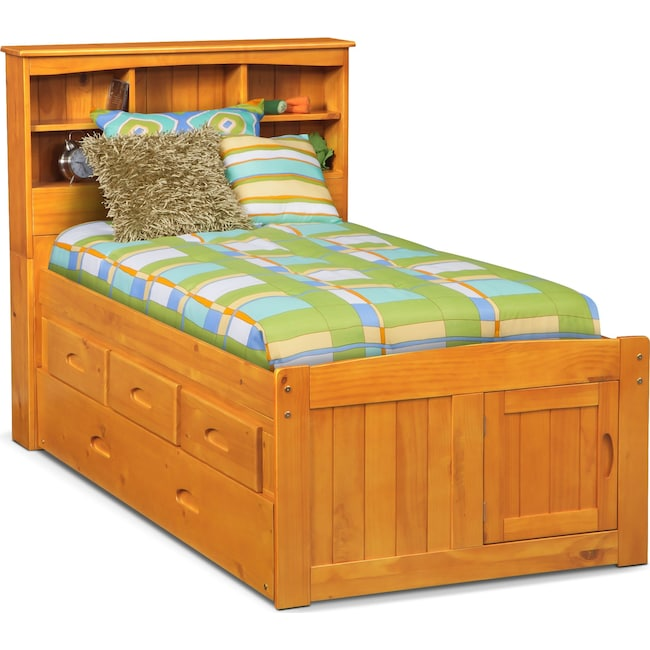 Kids Furniture - Ranger Full Bookcase Bed with 3 Underbed Drawers and Trundle - Pine