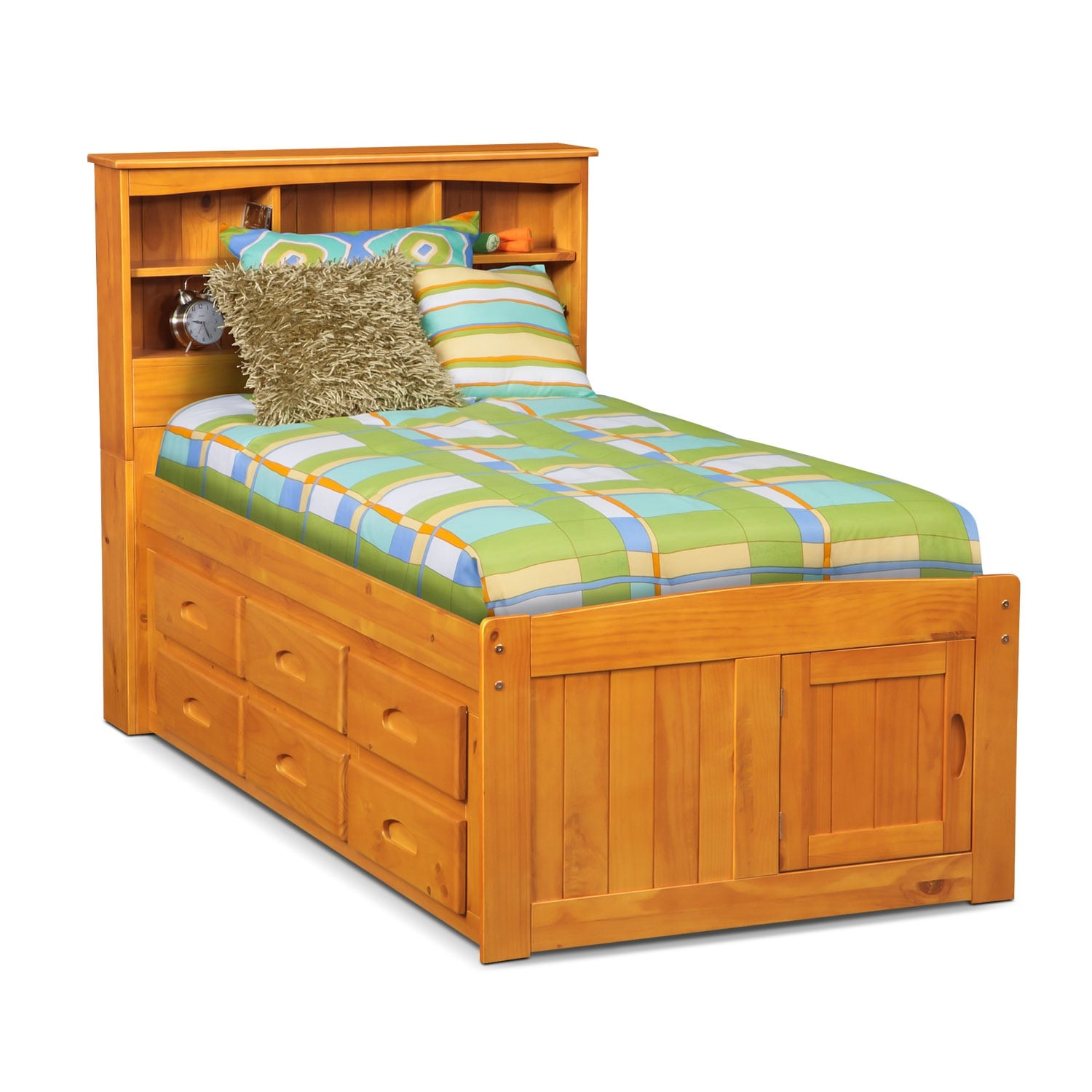 Kids Furniture - Ranger Pine Full Bookcase Bed with 6-Drawer Storage