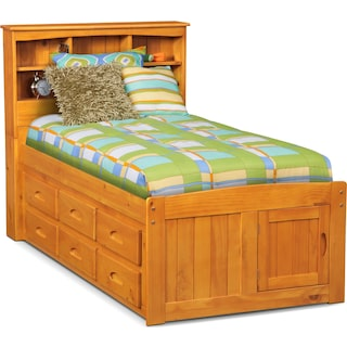Ranger Twin Bookcase Bed with 6 Underbed Drawers - Pine