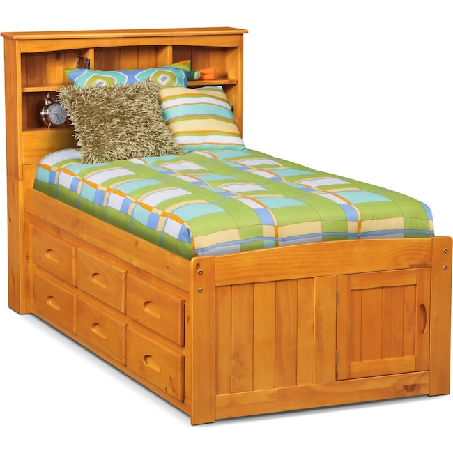 Kids Furniture - Ranger Full Bookcase Bed with 6 Underbed Drawers - Pine