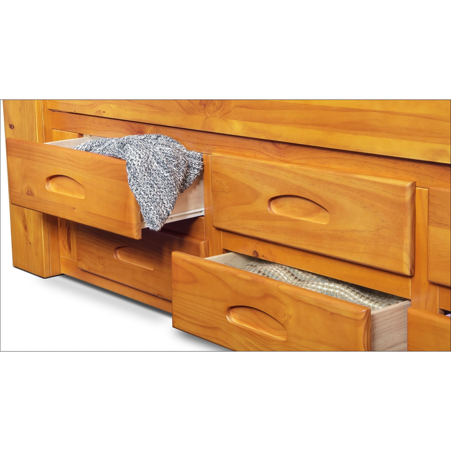 Ranger Twin Bookcase Bed With 6 Underbed Drawers Pine