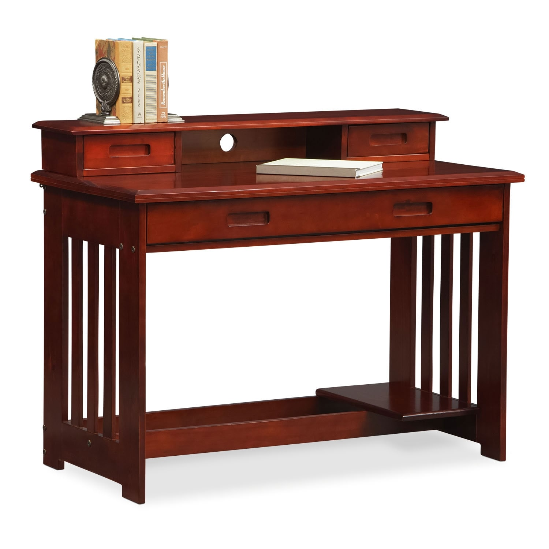 Office Furniture: Ranger Desk With Hutch - Merlot