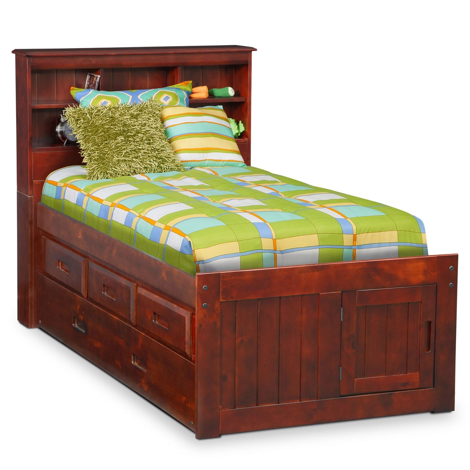 ranger twin bookcase bed with 3 underbed drawers and trundle merlot value city furniture. Black Bedroom Furniture Sets. Home Design Ideas