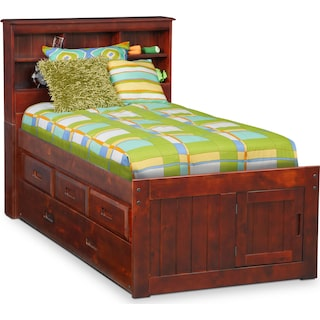 Ranger Twin Bookcase Bed with 3 Underbed Drawers and Trundle - Merlot