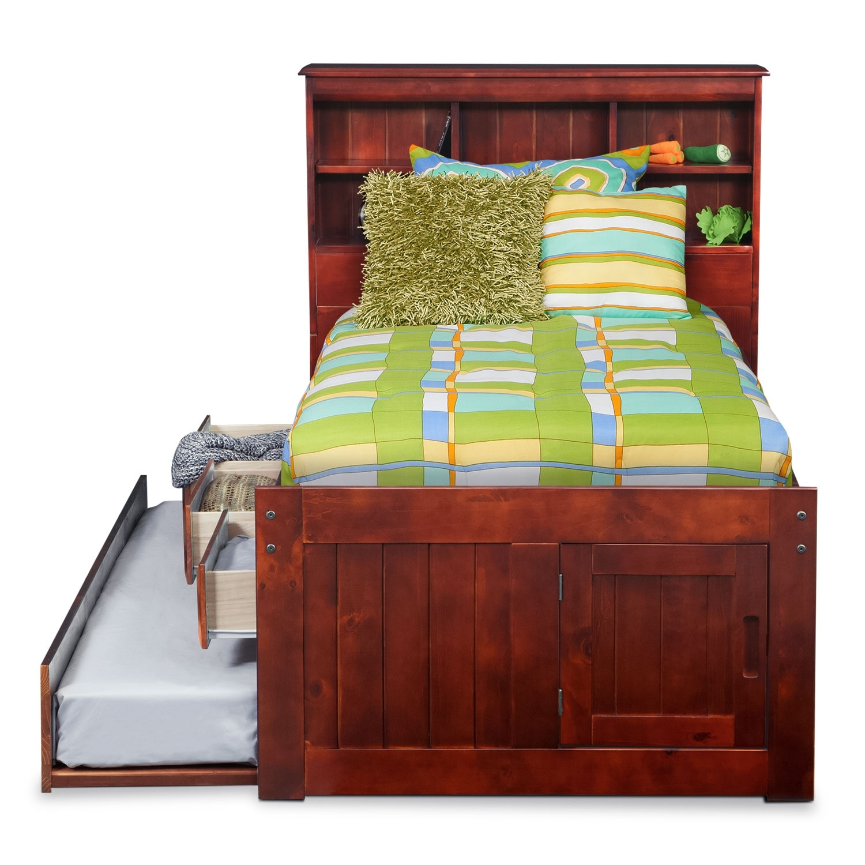 ranger merlot twin bookcase bed with 3 drawer storage trundle value city furniture. Black Bedroom Furniture Sets. Home Design Ideas