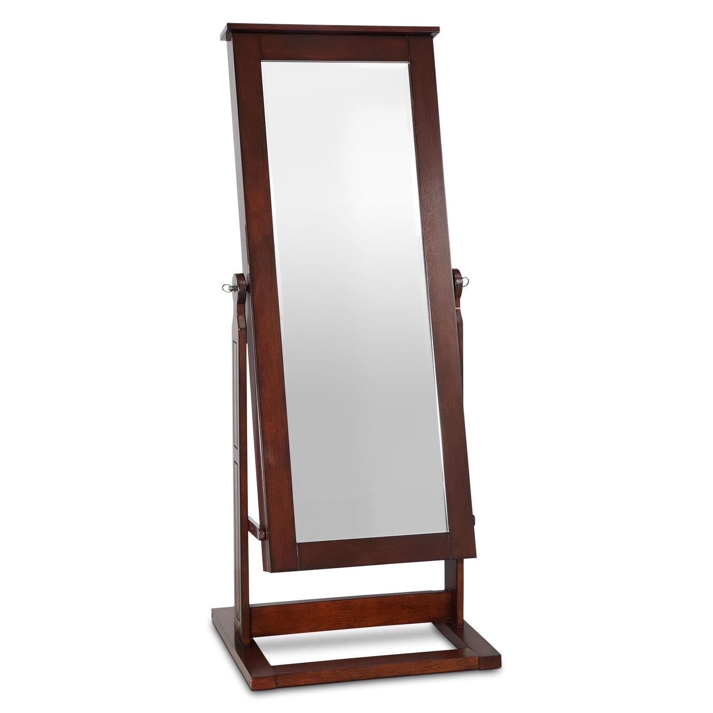 Perrie Cheval Storage Mirror - Walnut