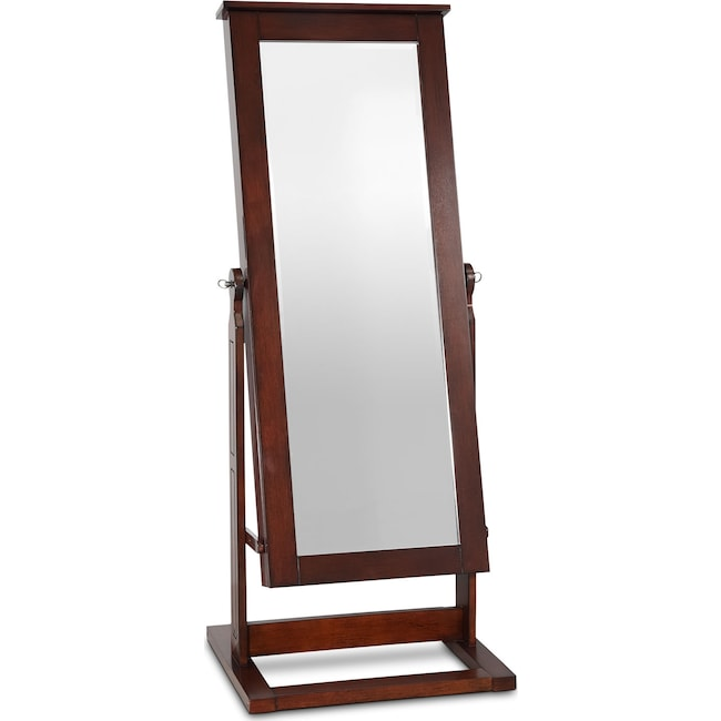 Accent and Occasional Furniture - Perrie Cheval Storage Mirror - Walnut
