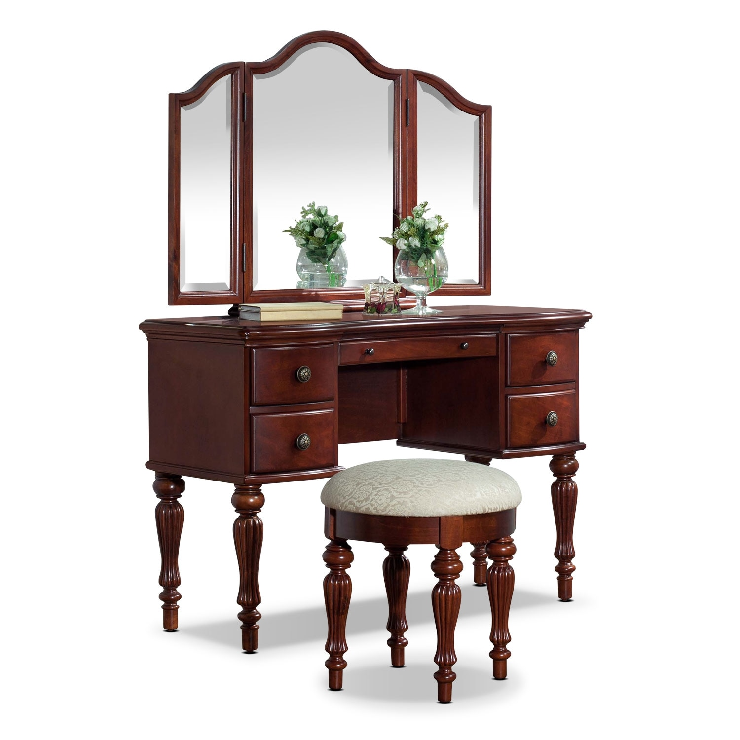 Accent and Occasional Furniture - Sibley Vanity Set - Cherry