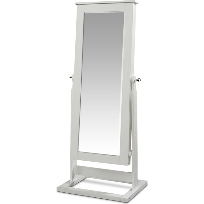 Accent and Occasional Furniture - Perrie Cheval Storage Mirror - White