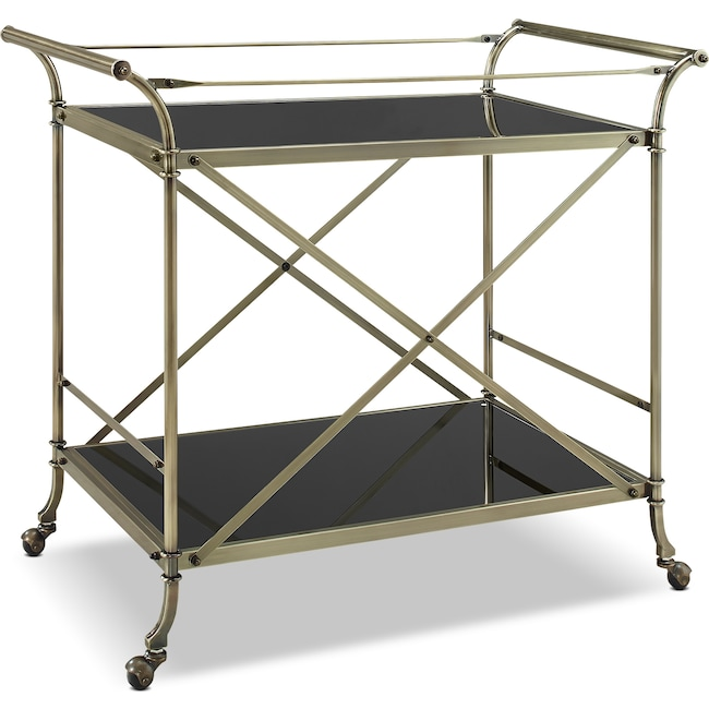Accent and Occasional Furniture - Barclay Serving Cart - Antique Brass