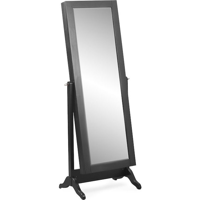 Accent and Occasional Furniture - Loren Cheval Storage Mirror - Black