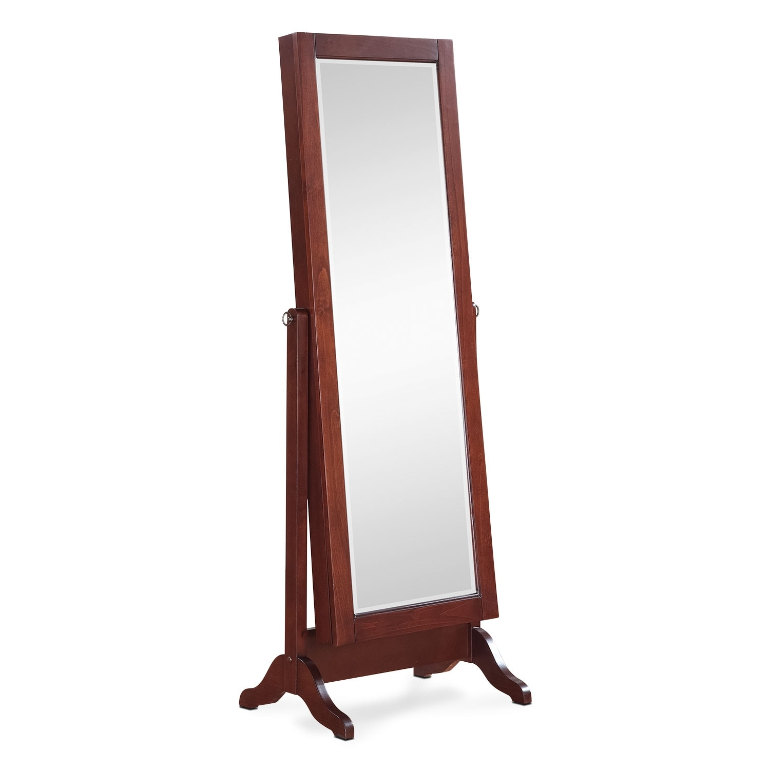 Accent and Occasional Furniture - Loren Cheval Storage Mirror - Cherry