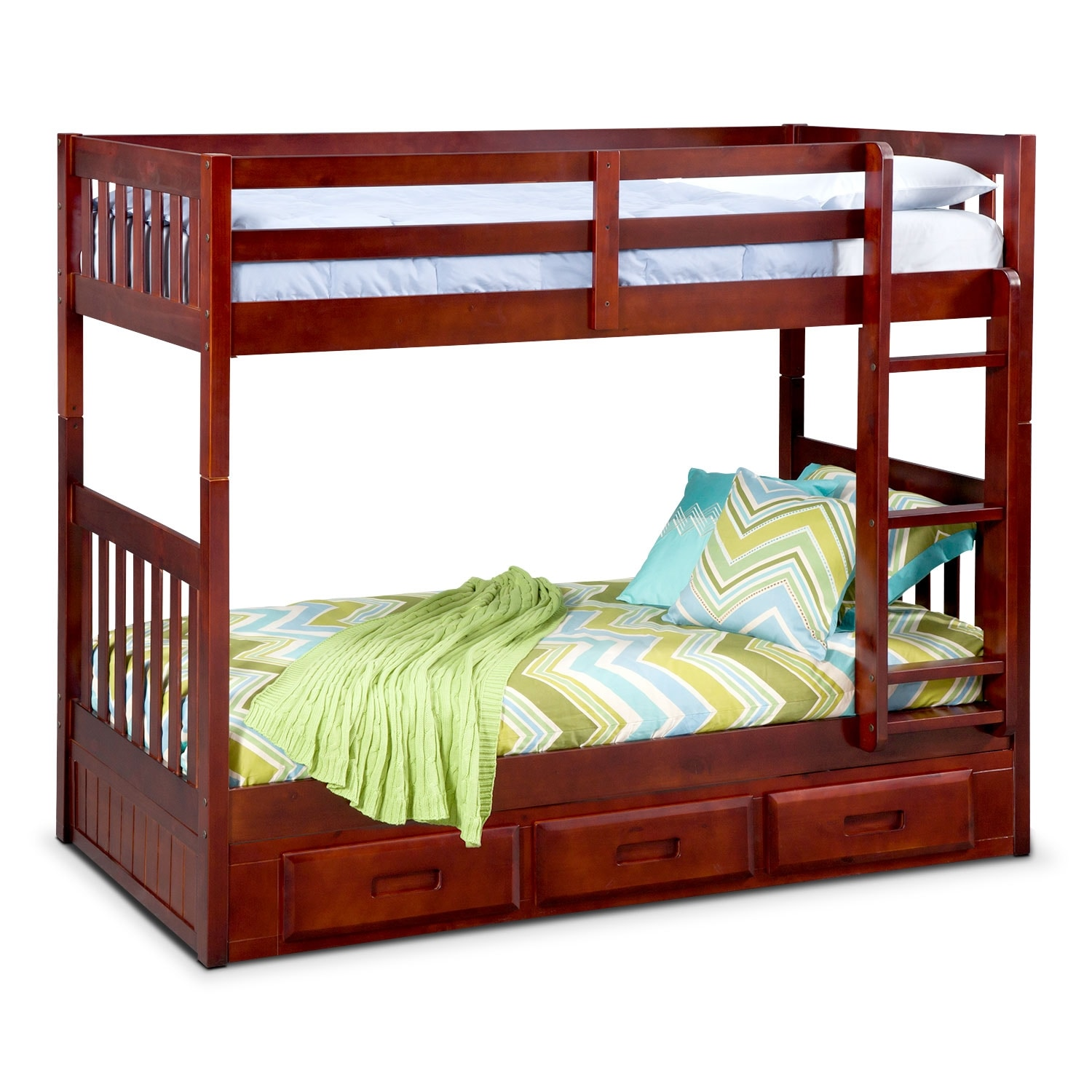 Ranger Merlot Twin/Twin Bunk Bed with Storage