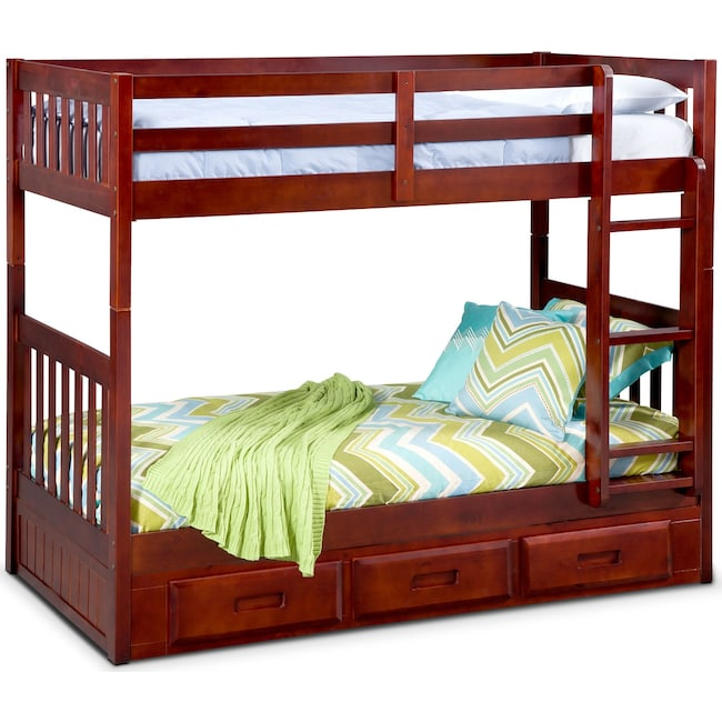 Ranger Twin Over Twin Storage Bunk Bed Merlot Value City