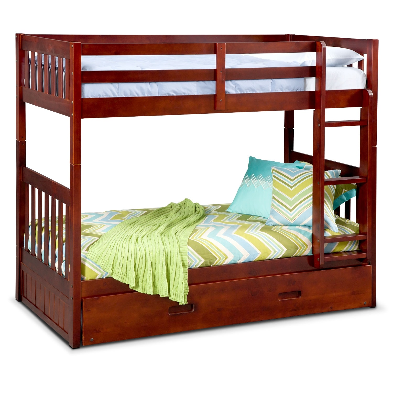 Kids Furniture - Ranger Merlot Twin/Twin Bunk Bed with Trundle