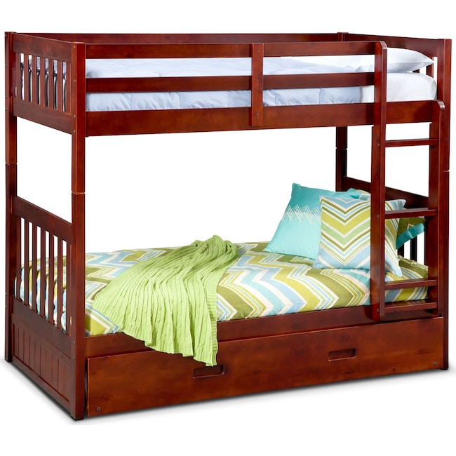 Kids Furniture - Ranger Twin over Twin Bunk Bed with Twin Trundle - Merlot
