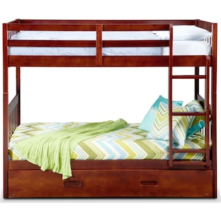 Ranger Twin over Twin Bunk Bed with Twin Trundle - Merlot