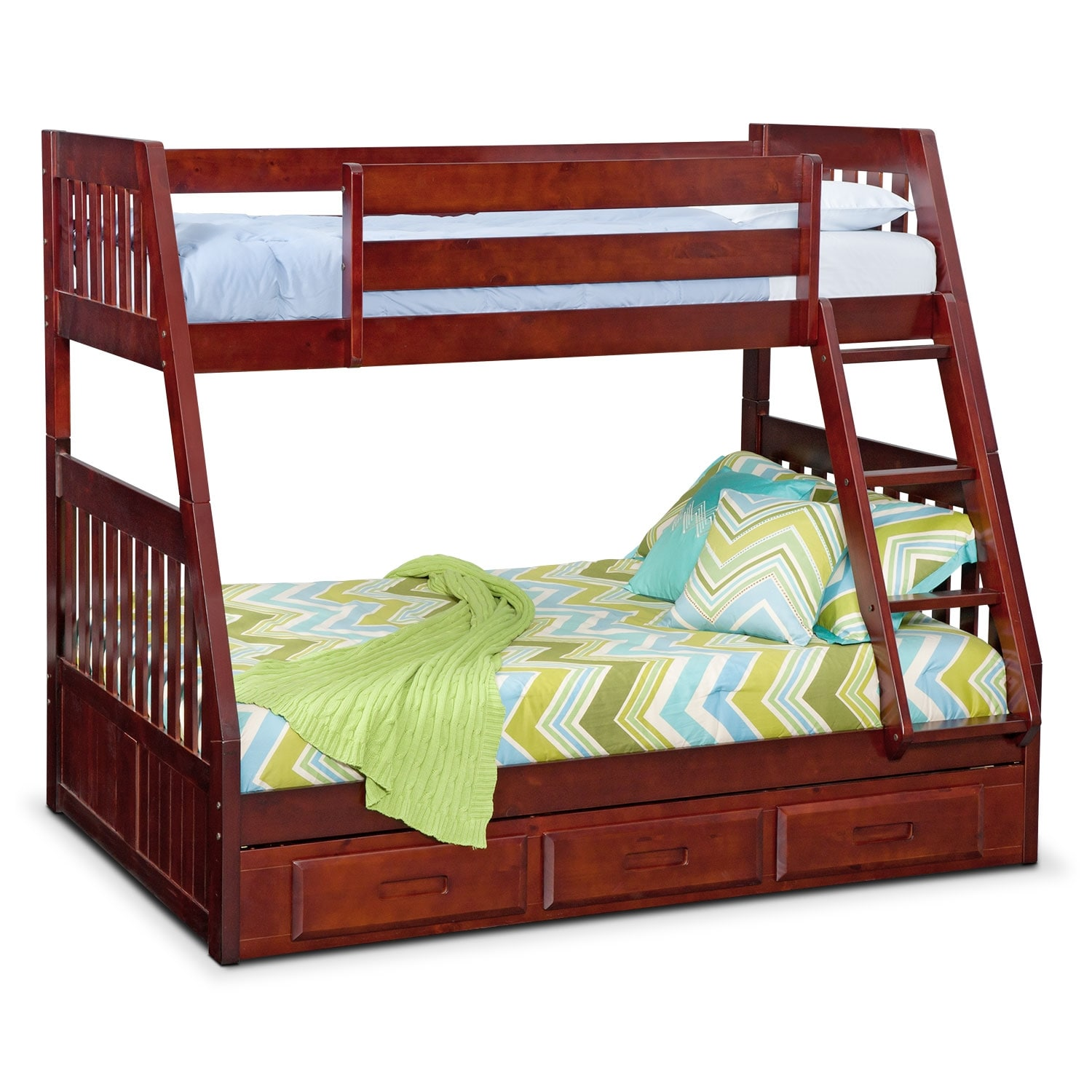 Kids Furniture - Ranger Twin over Full Storage Bunk Bed - Merlot