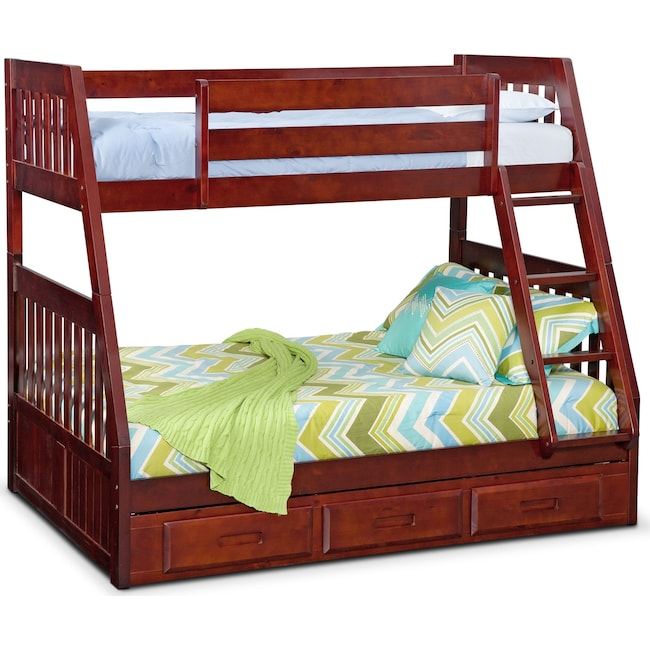 Kids Furniture - Ranger Twin over Full Storage Bunk Bed - Merlot