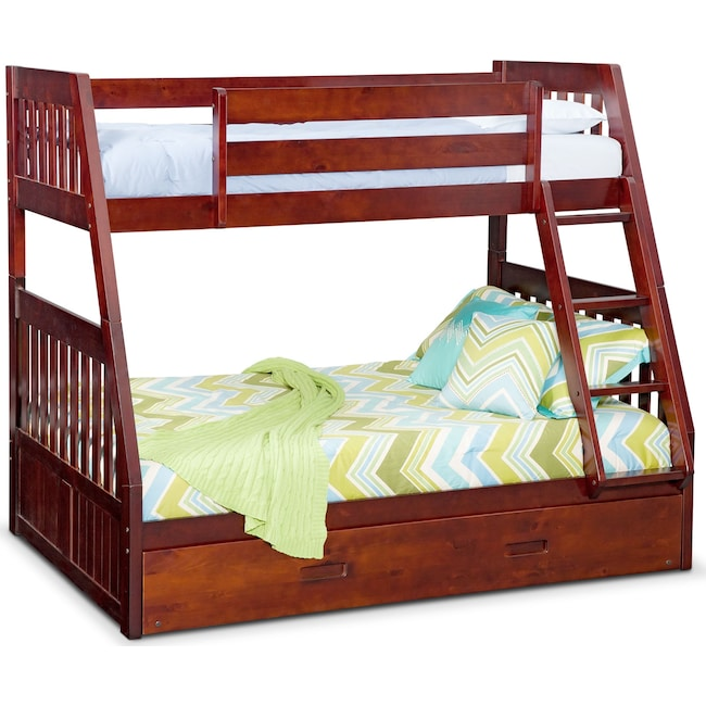 Kids Furniture - Ranger Twin over Full Bunk Bed with Trundle - Merlot