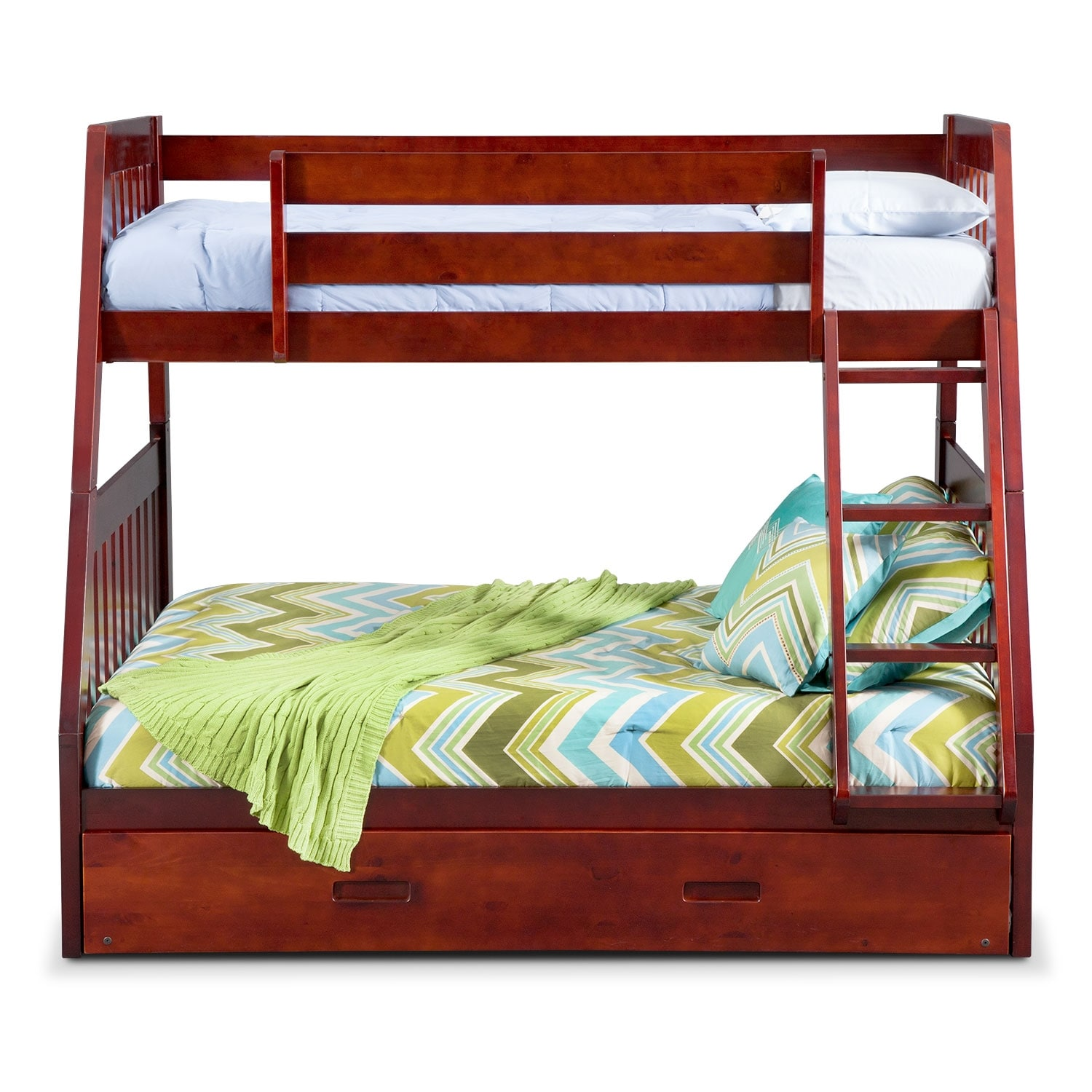 ranger twin over full bunk bed with twin trundle merlot value city furniture and mattresses. Black Bedroom Furniture Sets. Home Design Ideas