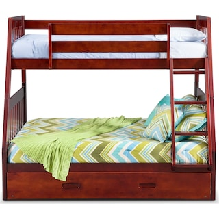 Ranger Twin over Full Bunk Bed with Twin Trundle - Merlot