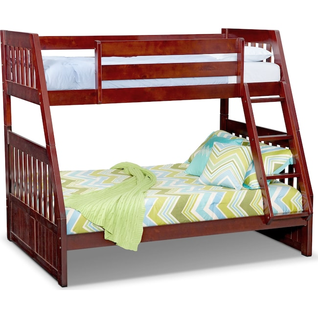 Kids Furniture - Ranger Twin over Full Bunk Bed - Merlot