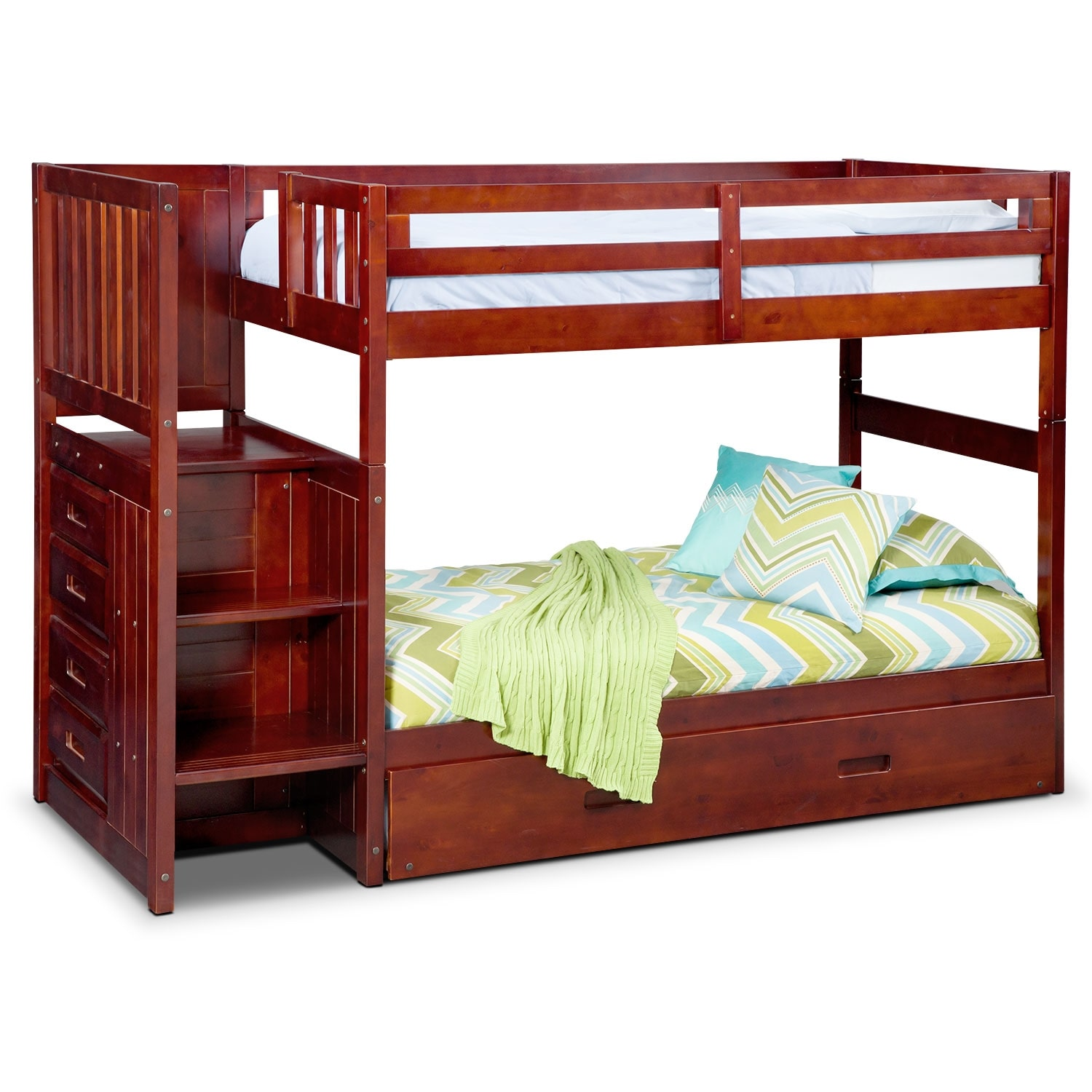 Ranger Twin over Twin Bunk Bed with Storage Stairs and Trundle - Merlot