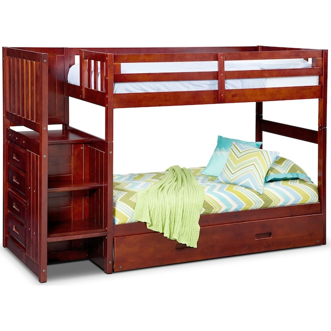 Kids Furniture - Ranger Twin over Twin Bunk Bed with Storage Stairs and Twin Trundle - Merlot