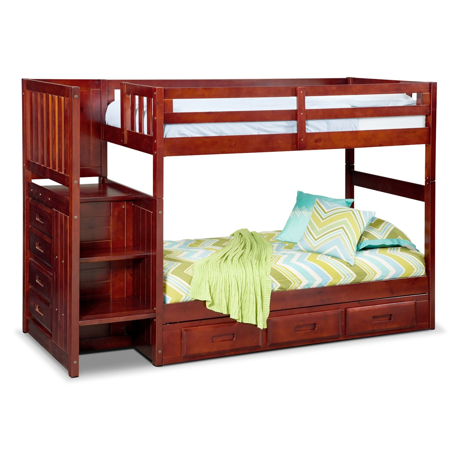 Kids Furniture - Ranger Twin over Twin Storage Bunk Bed with Stairs - Merlot